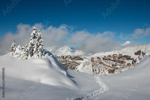 Aluminium Wintersporten Avoriaz in Winter, seen from les Hauts-Forts