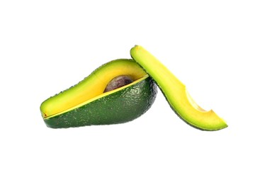 Cut avocado on a white background