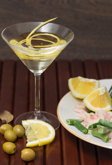 Seafood and asparagus dinner