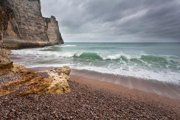 stormy gloomy weather on rocky coast