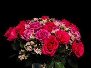 Bouquet of pink roses at closeup towards black background