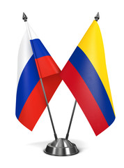 Russia and Colombia - Miniature Flags.