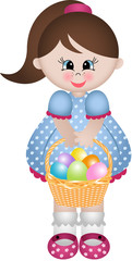 Cute little girl holding basket with Easter eggs