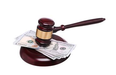 judge gavel and money isolated on white background.