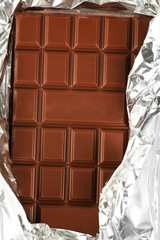 Bar of chocolate in foil, closeup