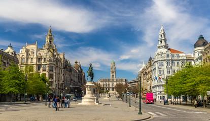 View of the Liberty square in Porto, Portugal