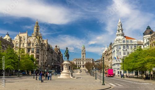 View of the Liberty square in Porto, Portugal - 80652773