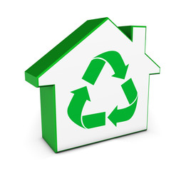 Green House Icon Recycling Symbol