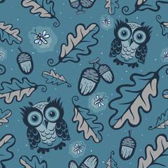 Owls and fireflies pattern