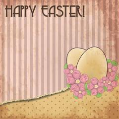 Happy Easter old invitation card, vector illustration