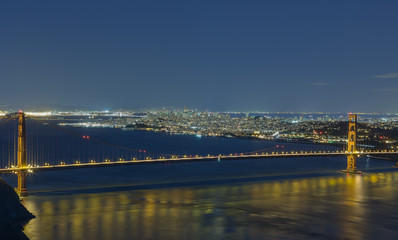 Golden Gate bridge and San Francisco downtown looking south at l