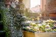 Leinwanddruck Bild - Temple offerings to Hindu God, Bali, Indonesia
