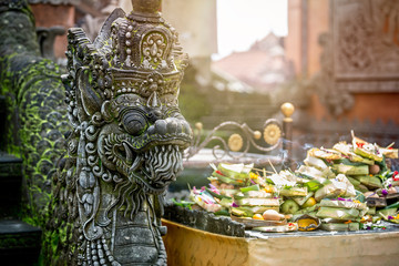 Temple offerings to Hindu God, Bali, Indonesia