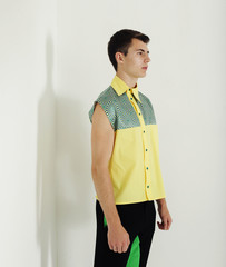 fashion man in colorful shirt