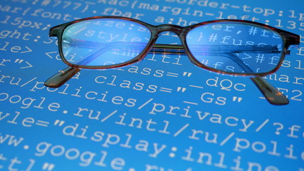 Glasses. Computer program codes running in a scrolling motion