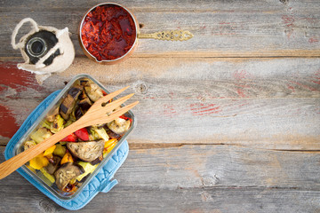 Grilled Turkish style vegetables with pepper paste
