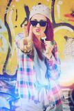 Fototapety Modern teenage girl eating ice cream