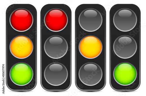 Traffic light, signal, semaphore or control lights vector illust - 80657974