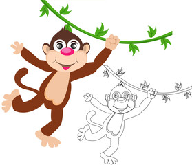 Cheerful monkey. Cartoon