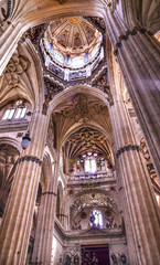 Stone Columns Statues Dome New Salamanca Cathedral Spain