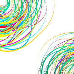 Colorful scribble like elements. Abstract vector