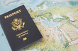 Leinwanddruck Bild - US Passport on the world map
