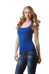 Cute model posing in blue t-shirt and jeans