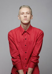 Male fashion model with blonde hair b