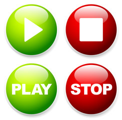 Play, stop buttons with symbols and texts