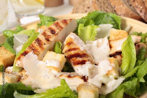 Fotobehang Salade Closeup of griddled chicken caesar salad