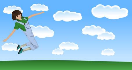 大空を跳ぶ女性
