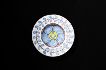 Ceramic Masonic Ashtray on Black Background