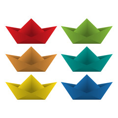 Origami boat. Vector illustration