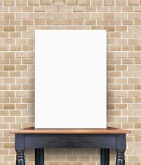 blank poster on vintage wooden table at brick tiles wall,Templat