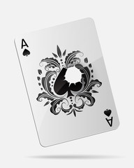 Ace of spades with a bullet hole, isolated on white.