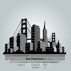 San Francisco city silhouette.