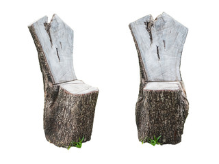 Chair made of natural log wood isolated on white background
