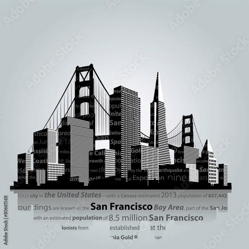 San Francisco city silhouette. - 80661568