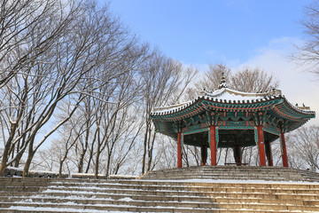Korea style pavilion in the snow