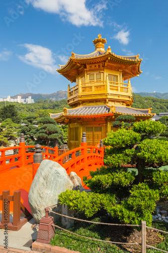 Golden Pavilion in Nan Lian Garden at Diamond Hill in Hong Kong