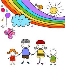 happy family and rainbow