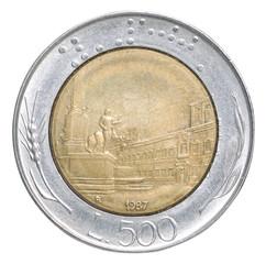 Italian lira coin
