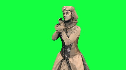 Living statue demonstrates an imaginary object Chromakey