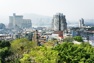 Beautiful view of the historic centre of Macau with the Ruins of