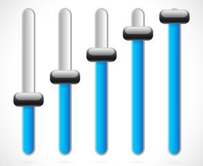 Blue vertical sliders, adjusters