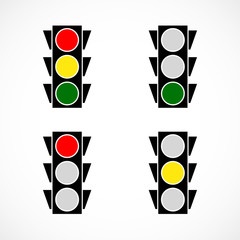 Classic traffic lamp icons. vector illustration.