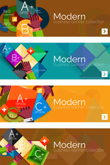 Collection of flat web infographic concepts and banners, various