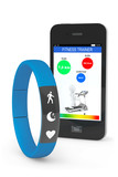 Blue Fitness Tracker with Mobile Phone poster