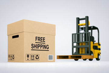 Forklift truck with Free Shipping Box and pallet