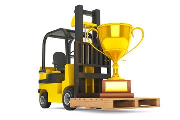 Forklift Truck moves Golden Trophy